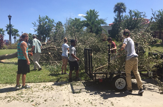 Cleaning up after hurricane